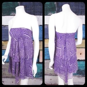 BCBGMaxAzria 100% Silk Tribal Ruffle Dress
